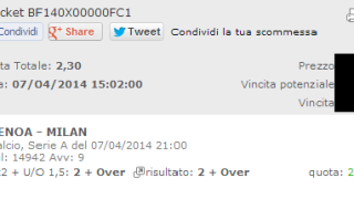 Seconda Combobet vincente Genoa-Milan 06 Aprile 2014