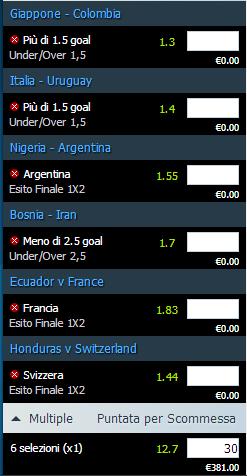 pronostici mondiali 24 e 25-06-2014