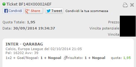 Scommesse Vincenti giocate in singole sull'Europa League del 02-10-2014