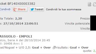 Combobet Vincente anticipo serie a Sassuolo-Empoli del 28-10-2014