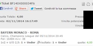 Scommessa Vincente Bayern Monaco-Roma del 05-11-2014