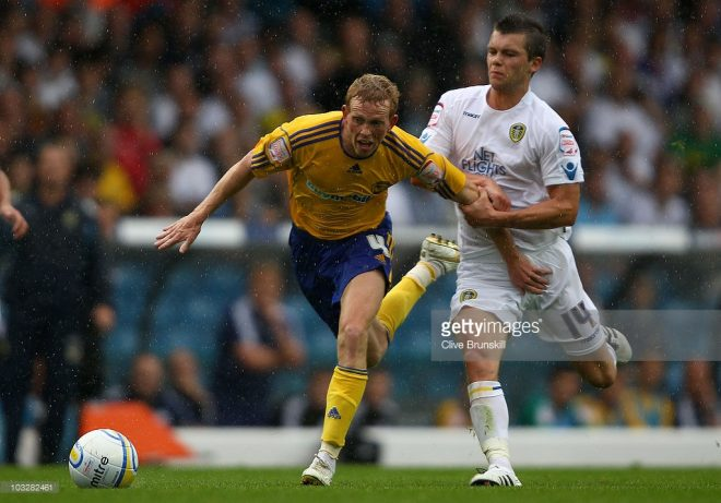 of Leeds United in action with of Derby County during the npower Championship match between Leeds United and Derby County at Elland Road on August 7, 2010 in Leeds, England.