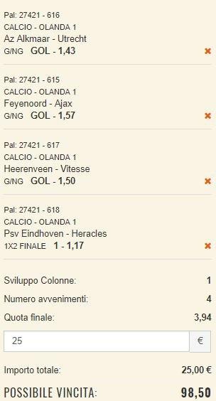 scommesse pronte Eredivisie 2017-10-21