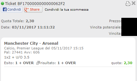 combo vincente manchester city-arsenal