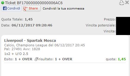combo vincente liverpool-spartak mosca