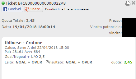 combo vincente udinese-crotone