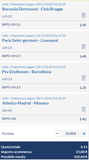 scommesse pronte Champions League 2018-11-27