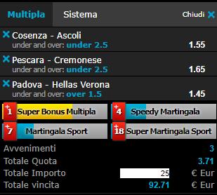 scommesse pronte Serie b 2019-01-19