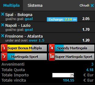 scommesse pronte Serie a 2019-01-20